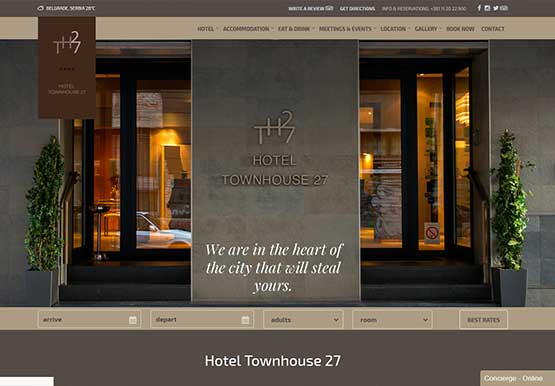 Creating Web site for hotel Townhouse 27